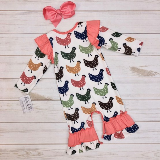 Melina & Me - Long-Sleeve Chicken Romper (Back)