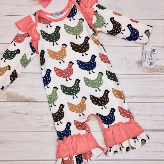 Melina & Me - Long-Sleeve Chicken Romper (Front)
