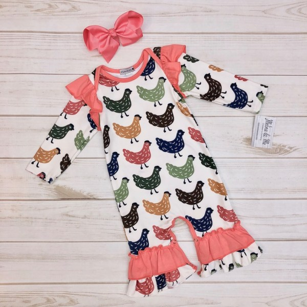 Long-sleeve Farmhouse Chicken Romper