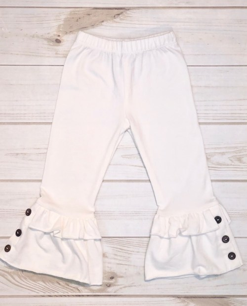 Melina & Me - Bellbottom Ruffle Pants (Cream)