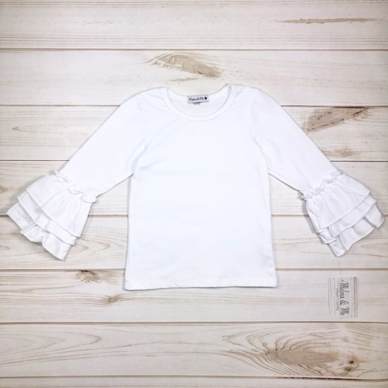 Melina & Me - Basic White Ruffle Long Sleeve