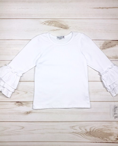 Melina & Me - Basic White Ruffle Long Sleeve