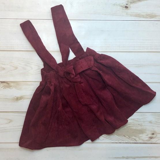 Melina & Me - Corduroy Suspender Skirt - Berry (Back)