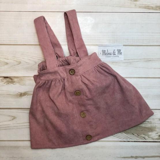 Melina & Me - Corduroy Suspender Skirt - Blush