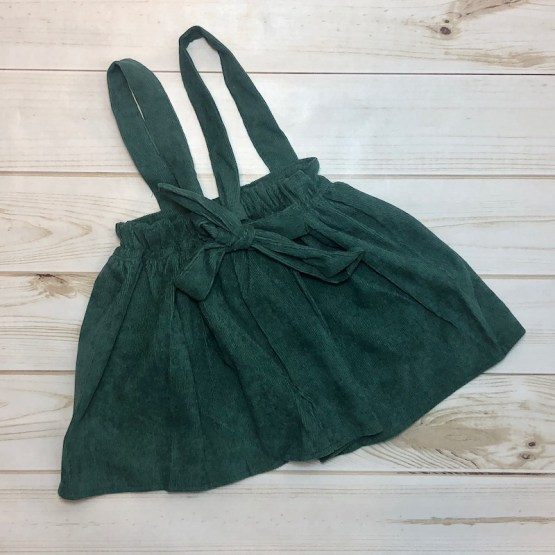 Melina & Me - Corduroy Suspender Skirt - Emerald (Back)