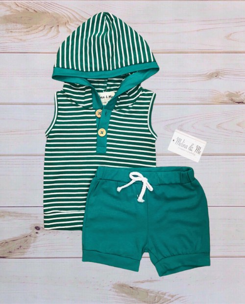 Melina & Me - Teal Stripes Outfit