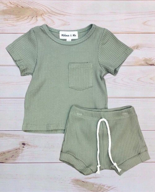 Melina & Me - Finn Ribbed Outfit (Olive)