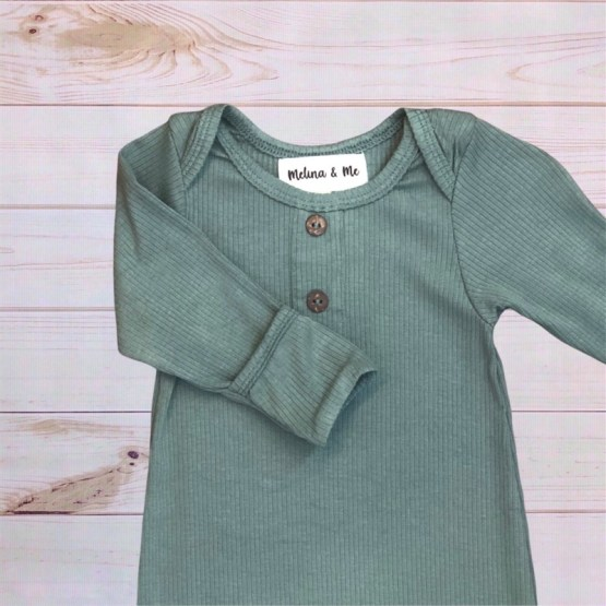 Melina & Me - Finn Ribbed Baby Gown (Foldover)