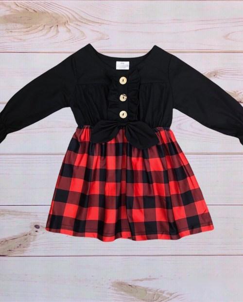 Black:Buffalo Plaid Dress
