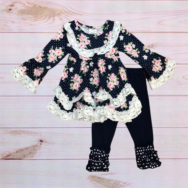 Navy Floral Outfit
