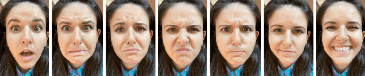 Melinda Ozel - expressions of emotion - surprise, fear, sadness, disgust, anger, contempt, happiness