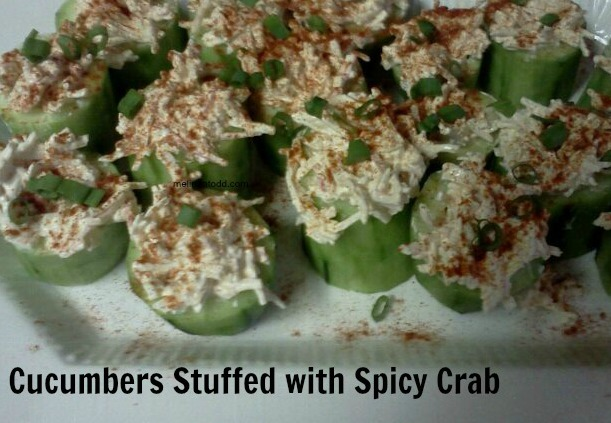 Cucumber stuffed with spicy crab low carb appetizer