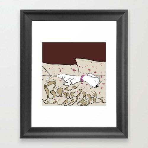 Dog In A Pile of Blankets Framed Print