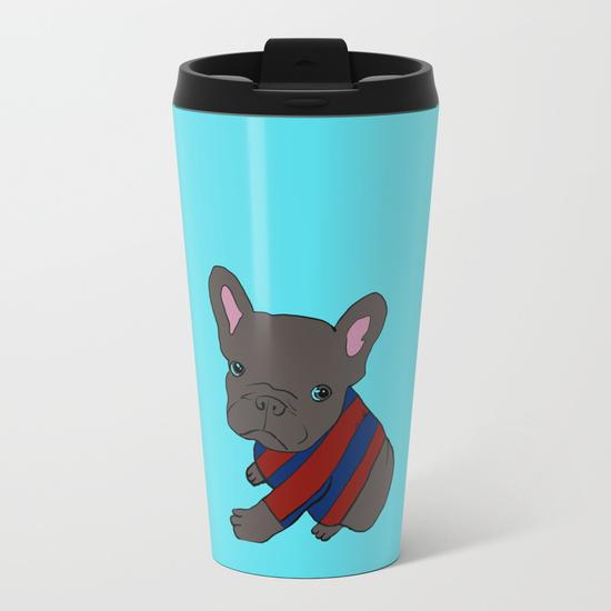 French Bull Dog Puppy Metal Travel Mug