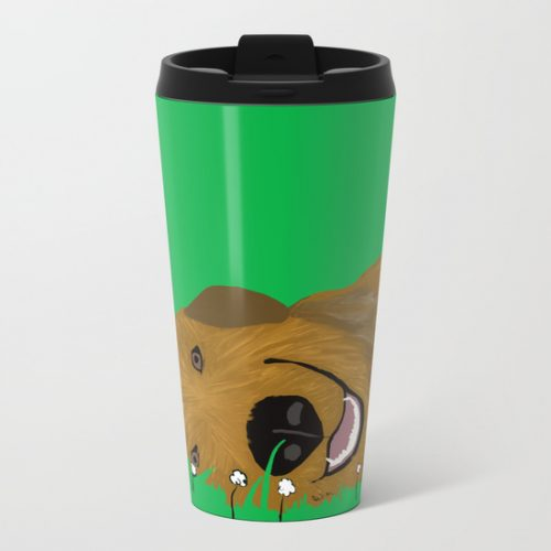 Golden Doodle or Retriever Metal Travel Mug by Melinda Todd