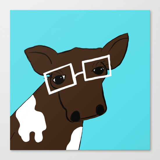 Hipster Cow Canvas