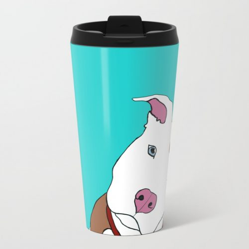 Pit Bull Metal Travel Mug by Melinda Todd