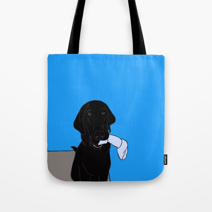 Black Lab With A Bone Tote Bag