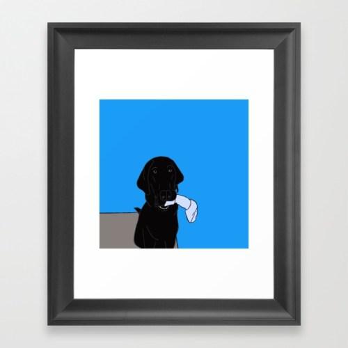 Black Lab With A Bone Framed Print