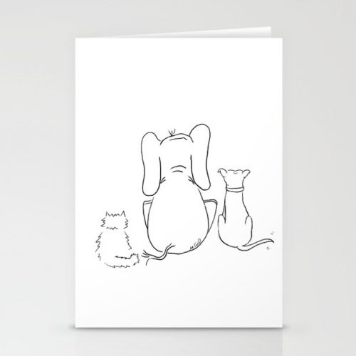 Cat elephant and dog friendship trio cards
