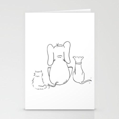 Cat elephant and dog friendship trio cards