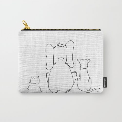 Cat, elephant, and dog friendship trio carry all pouch