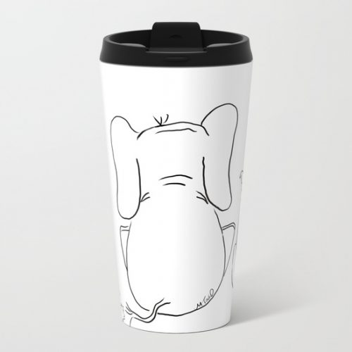 cat elephant and dog friendship trio metal travel mugs