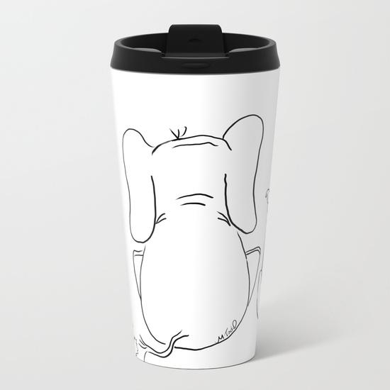cat elephant and dog friendship trio metal travel mugs