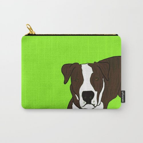 Chico the brindled pit bull carry all pouch