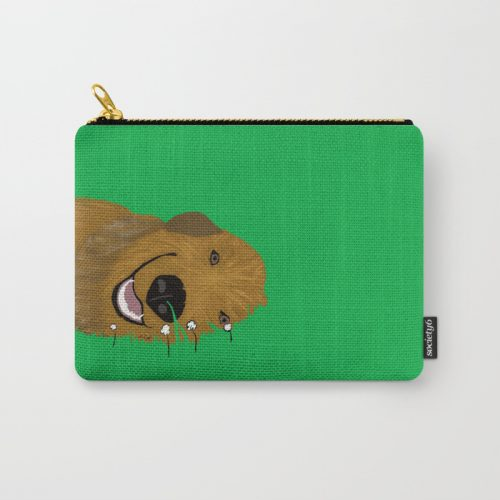 Golden Doodle In Grass Carry All Pouch