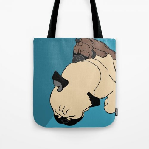 Pug and Puppy Napping Tote