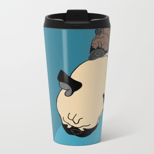 Pug and Puppy Napping Metal Travel Mug