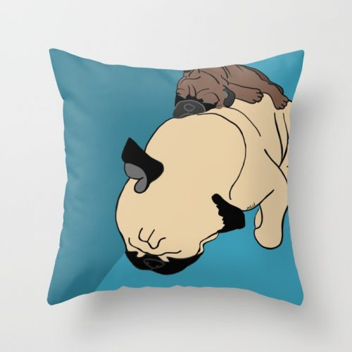 Pug and Puppy Napping Throw Pillow