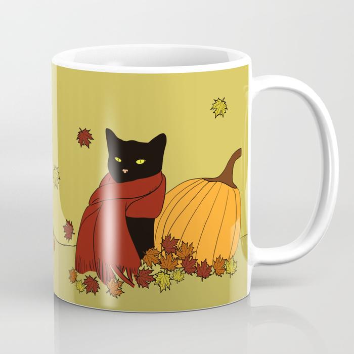 Cascade The Black Cat Welcomes Fall Coffee Mug