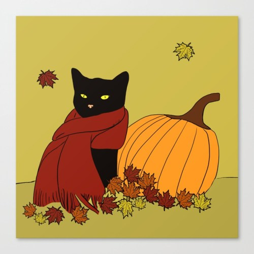 Cascade The Black Cat Welcomes Fall Canvas Print by Melinda Todd