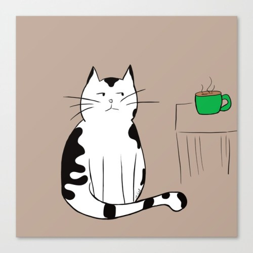 Java the Coffee Cat Canvas Print by Melinda Todd