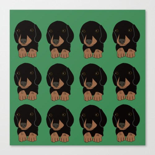 Dachshund Puppies Galore Canvas Print by Melinda Todd