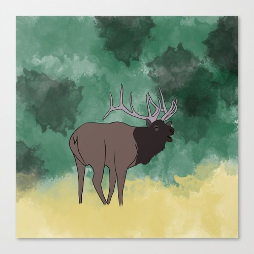 Bull Elk Bugling Canvas