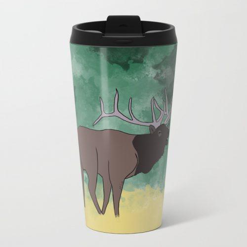 Bull Elk Bugling Travel Mug