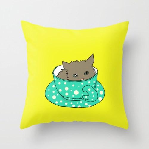 Kitten In A Teacup Throw Pillow