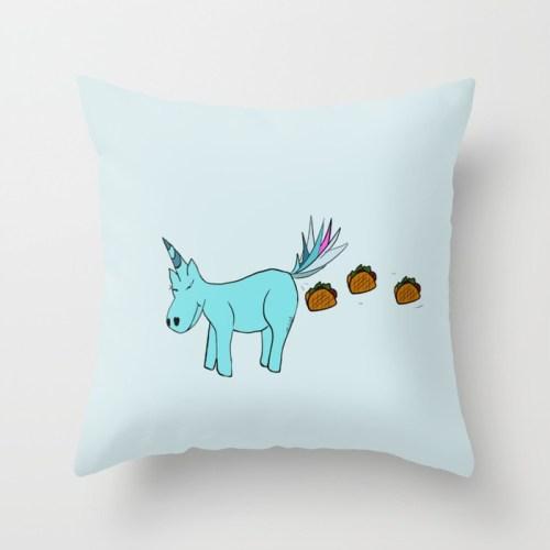 Unicorn Pooping Tacos Throw Pillow