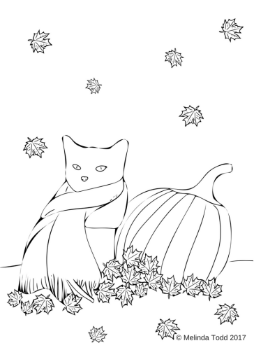 Cascade The Black Cat Fall Coloring Sheet by Melinda Todd