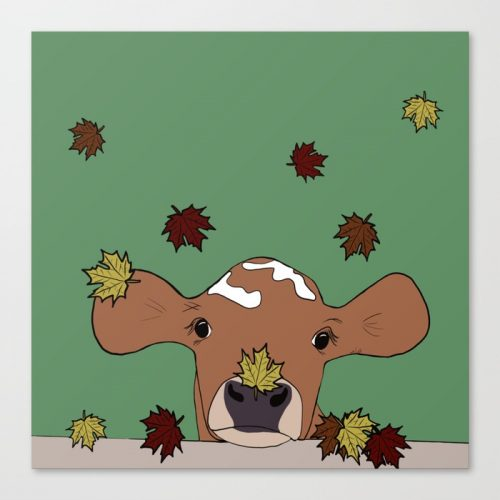 Bessie The Calf in Fall Leaves Canvas Print by Melinda Todd