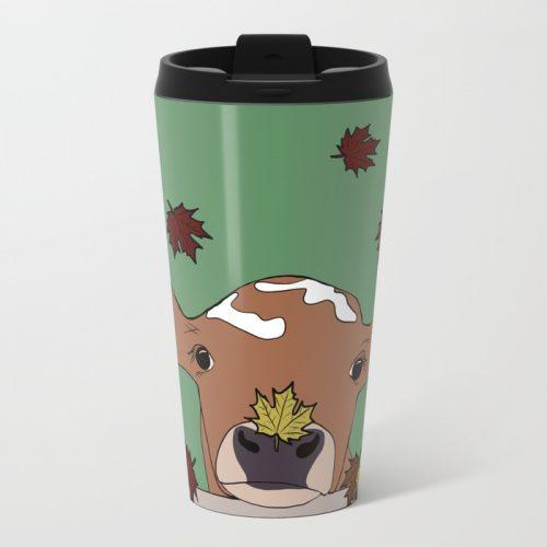 Bessie The Calf in Fall Leaves Travel Mug