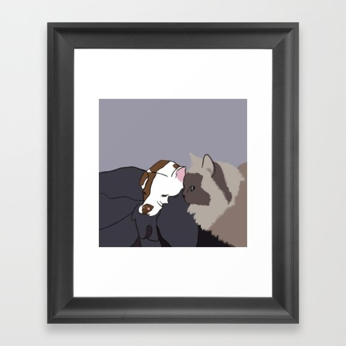 A Pit Bull and Her Kitty Framed Print by Melinda Todd