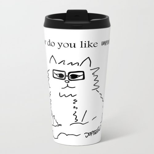 How Do You Like Meow Hipster Kitten Travel Mug