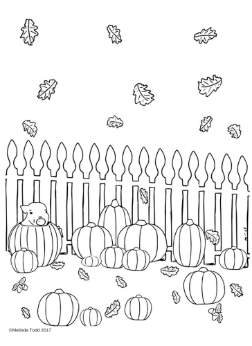 A Piggy and Pumpkins in Fall Coloring Page by Melinda Todd