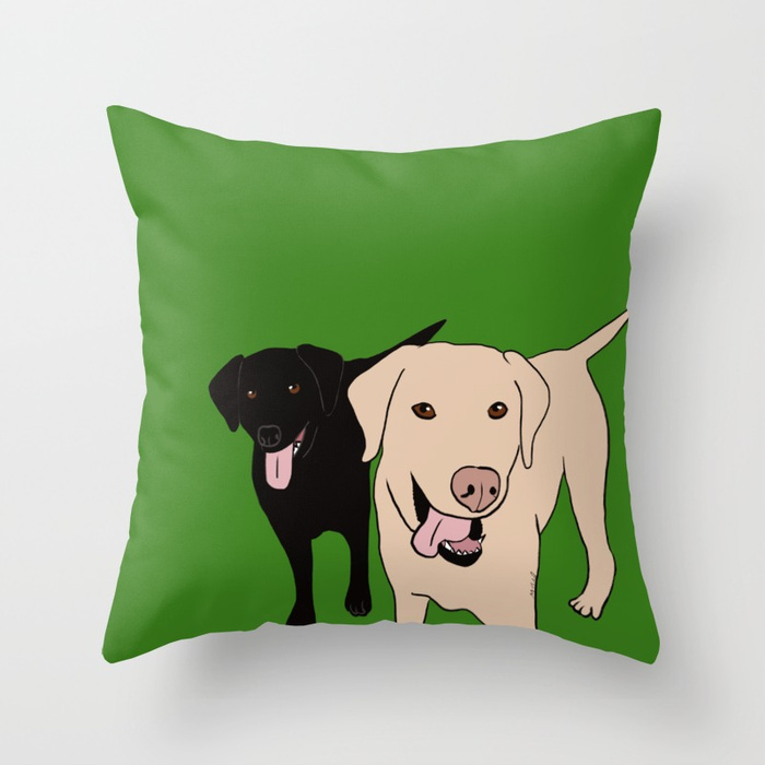 Tanner and Lily Labrador Buddies Throw Pillow