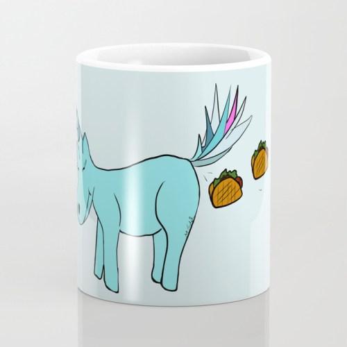 Unicorn Pooping Tacos Coffee Mug by Melinda Todd