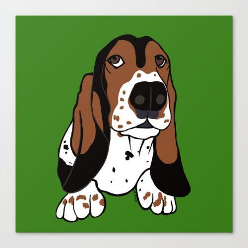 Basset Hound Canvas Art Print by Mel's Doodle Designs